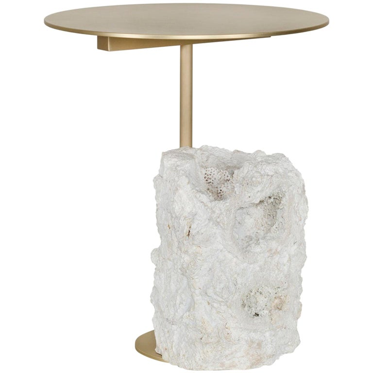 Pico Side Table S Grey Coral Color Stone Split Face Effect Brushed Brass Matte For Sale