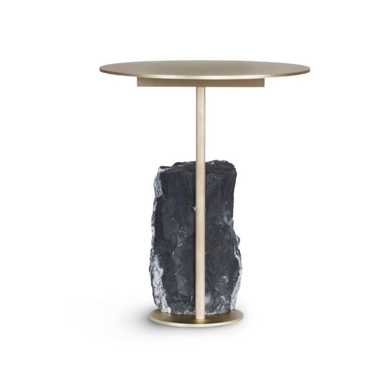 Pico Side Table S Nero Marquina Split Face Effect Oxidized Brass Matte For Sale 4