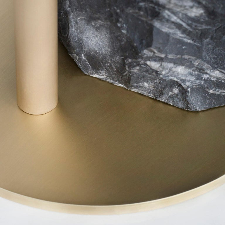 Pico Side Table S Nero Marquina Split Face Effect Oxidized Brass Matte For Sale 2