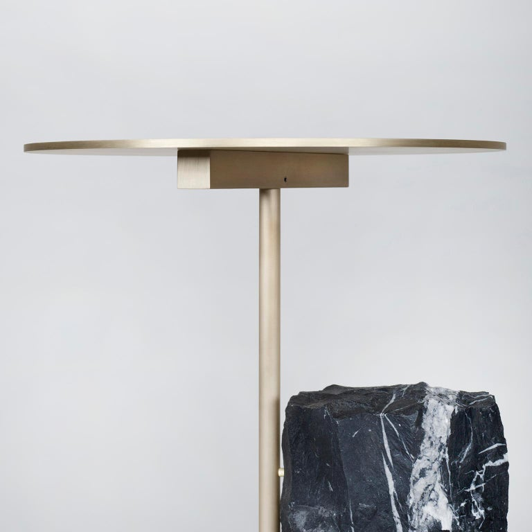 Pico Side Table S Nero Marquina Split Face Effect Oxidized Brass Matte In New Condition For Sale In Cartaxo, PT