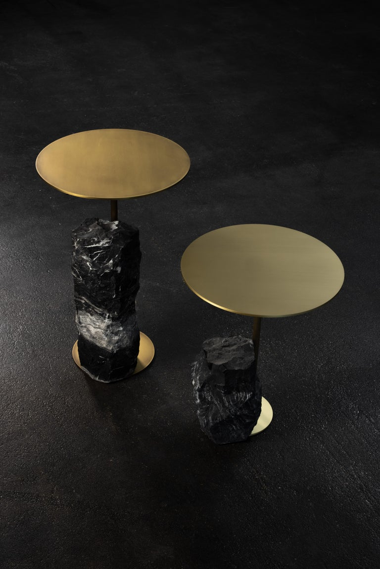 Pico Side Table S Nero Marquina Split Face Effect Oxidized Brass Matte For Sale 3