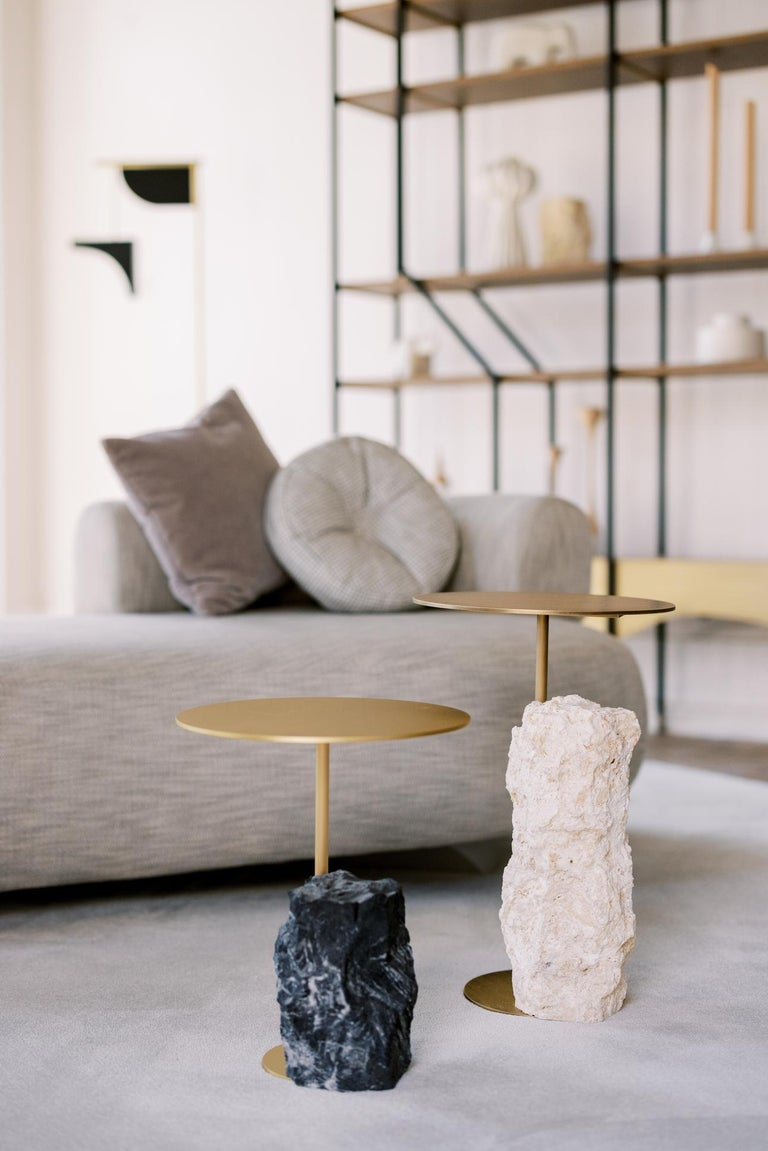 Contemporary Pico Side Table S Nero Marquina Split Face Effect Oxidized Brass Matte For Sale