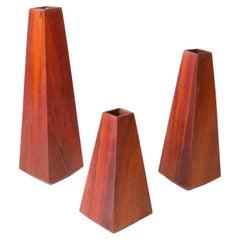 Picos Set of Wooden Vases in Brazilian Hardwood by Knót Artesanal