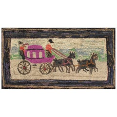 Pictorial Antique American Hooked Rug Horse & Buggy in Multi Colors