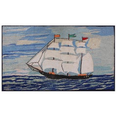 Pictorial Antique American Hooked Rug with Ship at Sea Design