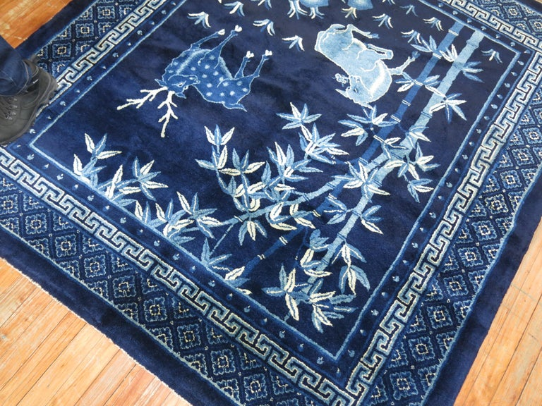Hand-Woven Pictorial Antique Chinese Square  Rug For Sale