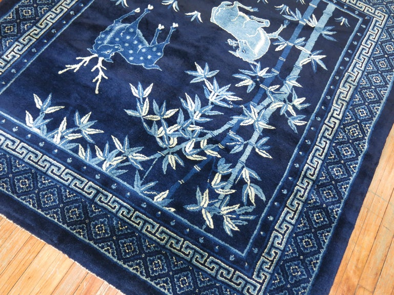 Pictorial Antique Chinese Square  Rug In Excellent Condition For Sale In New York, NY