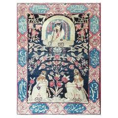 Pictorial Antique Persian Kermanshah Rug
