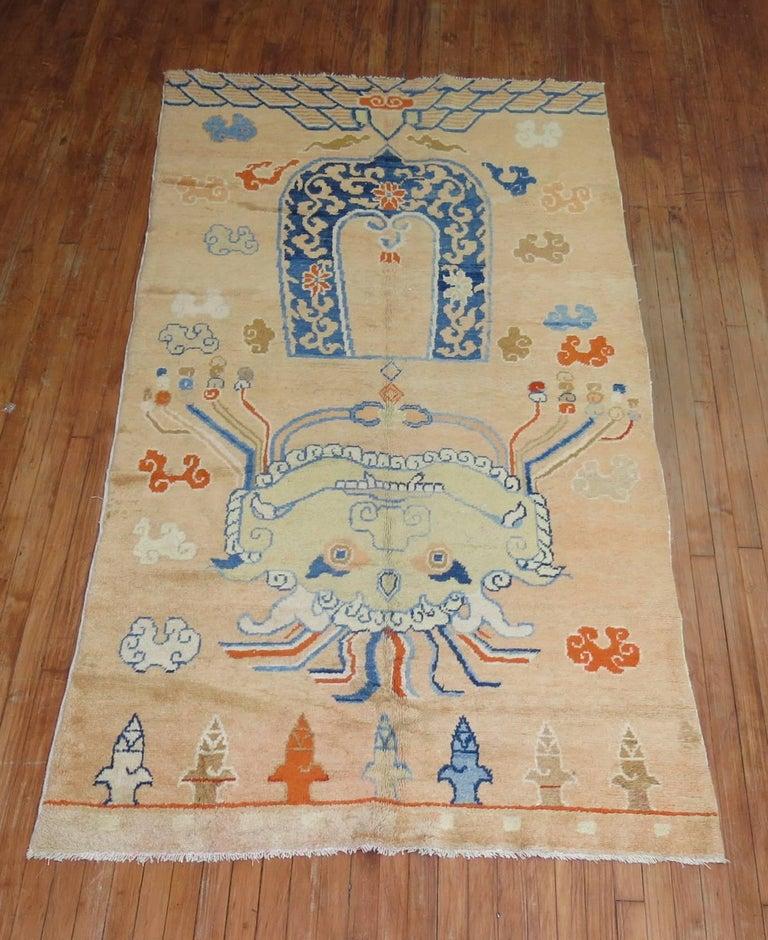 Antique Tibetan Rug: Pictorial Antique Tibetan Rug For Sale At 1stdibs
