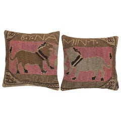Pictorial Dog Pink Turkish Rug Pillows, Set of 2