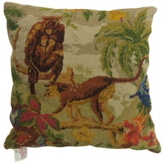 Pictorial Guerrilla Wolf Animal Portuguese Needlepoint Pillow