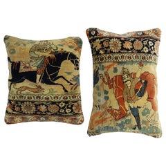 Pictorial Mohtasham Kashan Rug Pillows, Set of 2