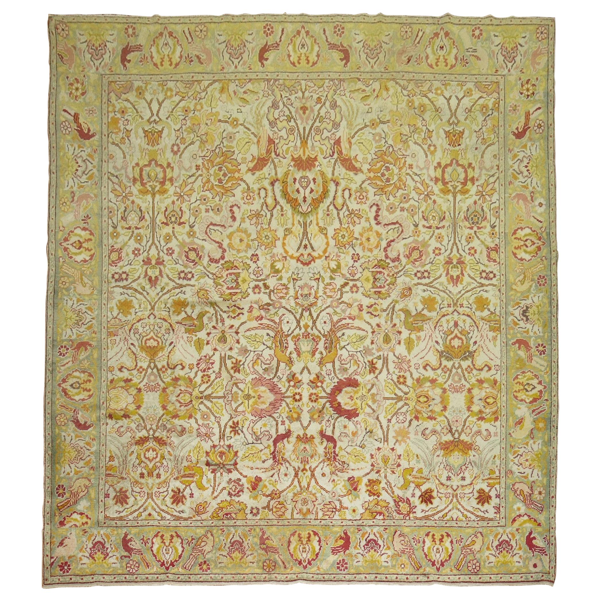 Pictorial Motif Ivory Turkish Square Room Size Rug