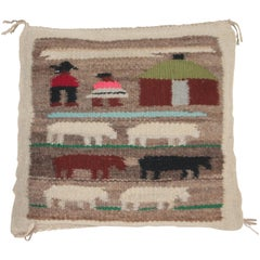 Pictorial Navajo Indian Weaving Chair Cushion