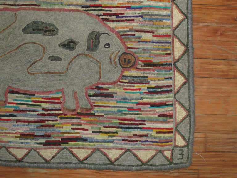 Folk Art Pictorial Pig American Hooked Rug For Sale