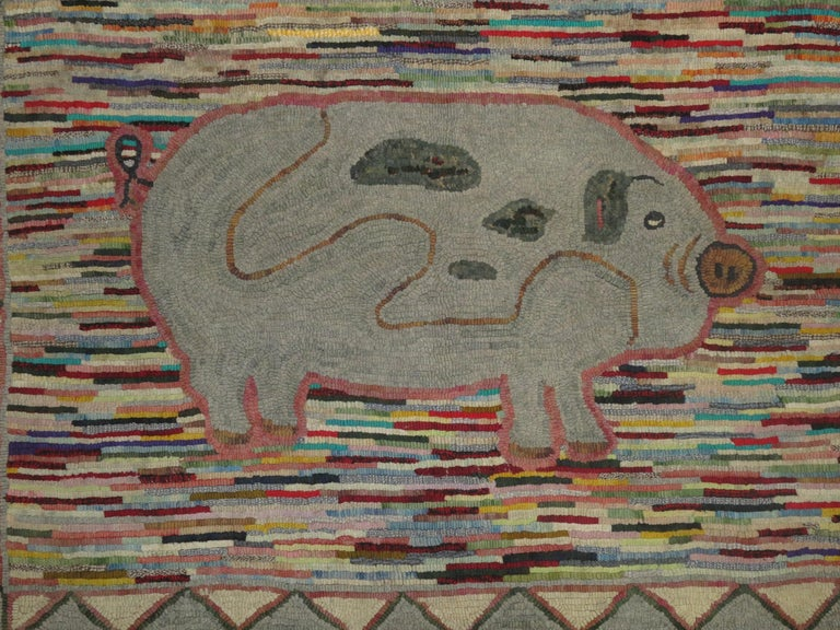 20th Century Pictorial Pig American Hooked Rug For Sale