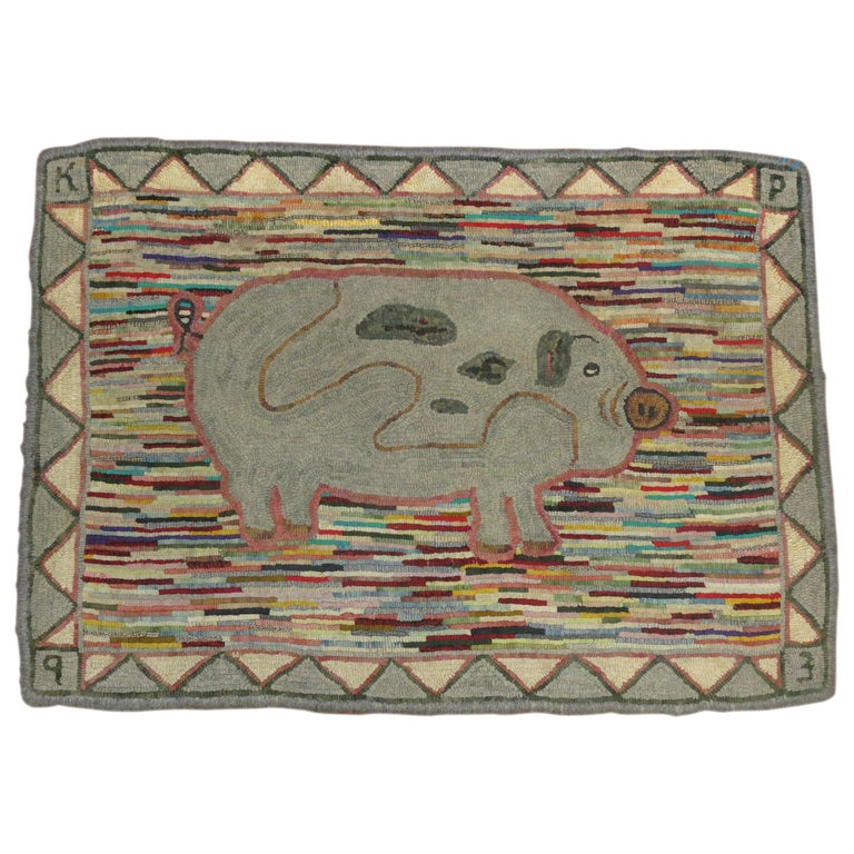 Pictorial Pig American Hooked Rug For Sale