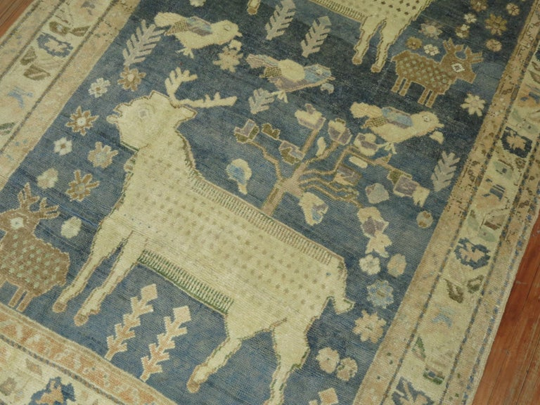 Pictorial Sheep Pigeon Sea Foam Turkish Anatolian Accent Size Decorative Rug In Good Condition For Sale In New York, NY