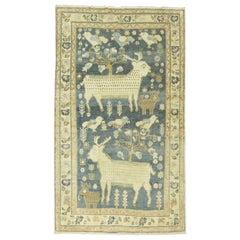 Pictorial Sheep Pigeon Sea Foam Turkish Anatolian Accent Size Decorative Rug