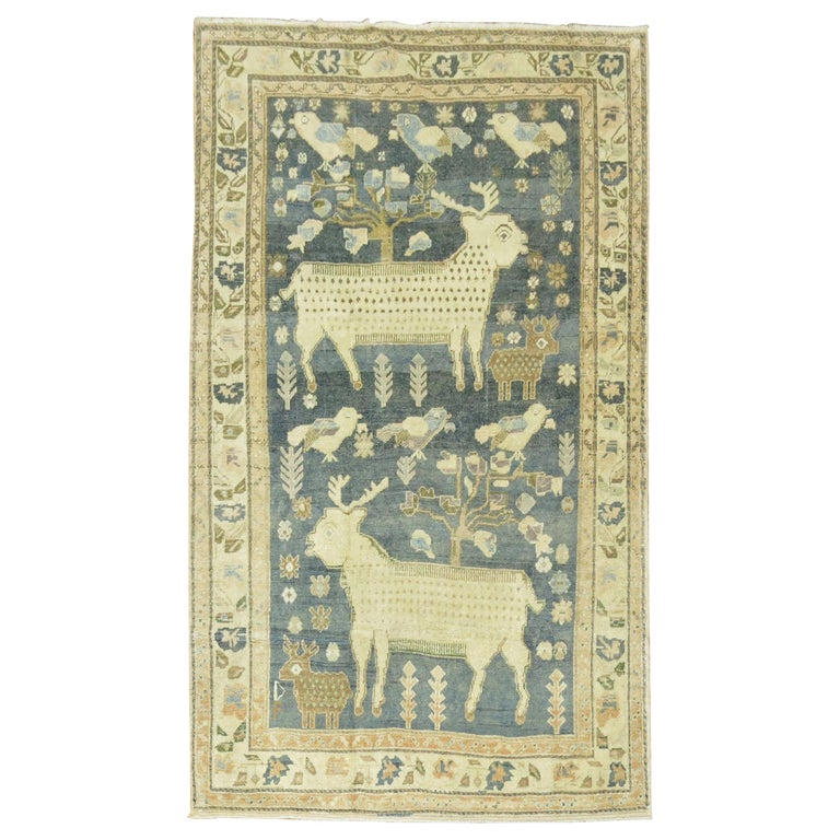 Pictorial Sheep Pigeon Sea Foam Turkish Anatolian Accent Size Decorative Rug For Sale