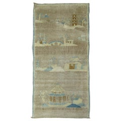 Pictorial Silver Brown Baby Blue Chinese Art Deco Mat Size Rug