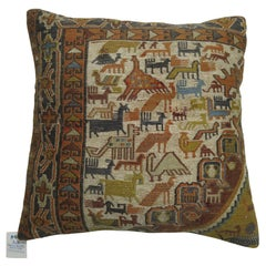 Pictorial Soumac Folk Art Pillow