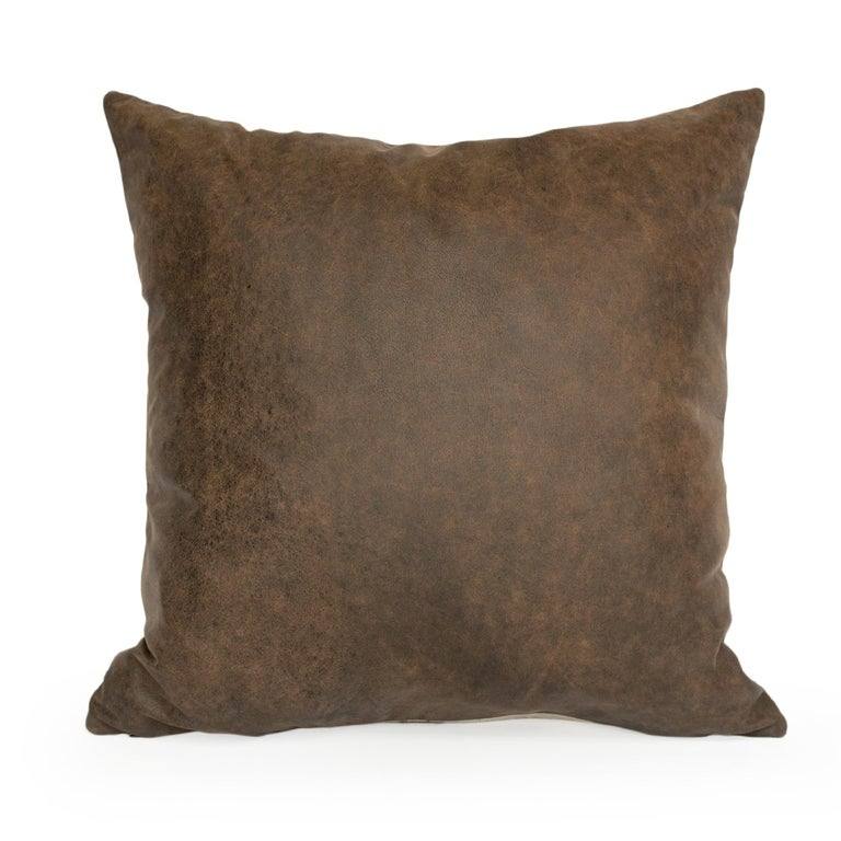 American Pictorial Stag Head Pillow, California Felted Wool, Brown Leather Back, in Stock For Sale