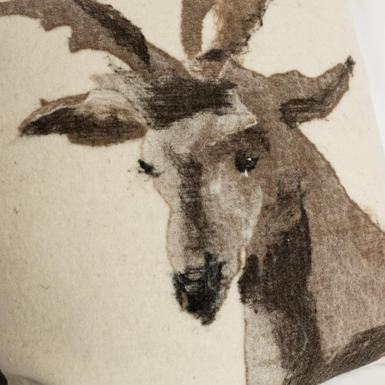 Other Pictorial Stag Head Pillow, California Felted Wool, Brown Leather Back, in Stock For Sale