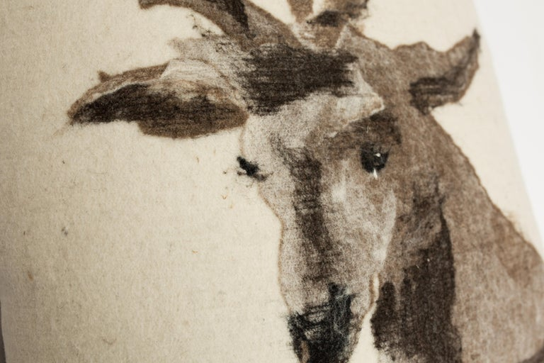 Pictorial Stag Head Pillow, California Felted Wool, Brown Leather Back, in Stock In New Condition For Sale In Sebastopol, CA