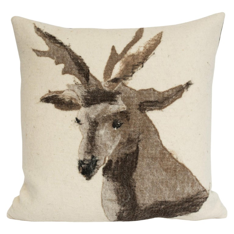 Pictorial Stag Head Pillow, California Felted Wool, Brown Leather Back, in Stock For Sale