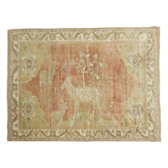 Pictorial Turkish Deer Pictorial Animal Soft Peach Rug