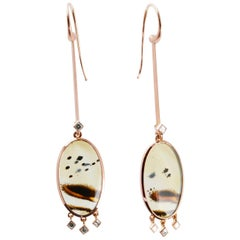 Picture Agate and Diamond Chandelier Earrings in 18 Carat Rose Gold