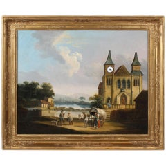 Picture Clock, First Half of the 19th Century, France, Oil on Canvas, Movement