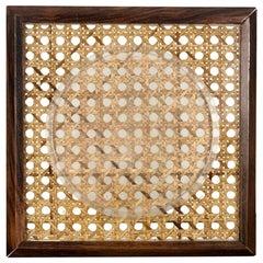 Bilderrahmen Halter aus Holz Plexiglas und Korbweide, 1960er, Italien