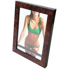 Picture Frame in Burl Wood and Brass