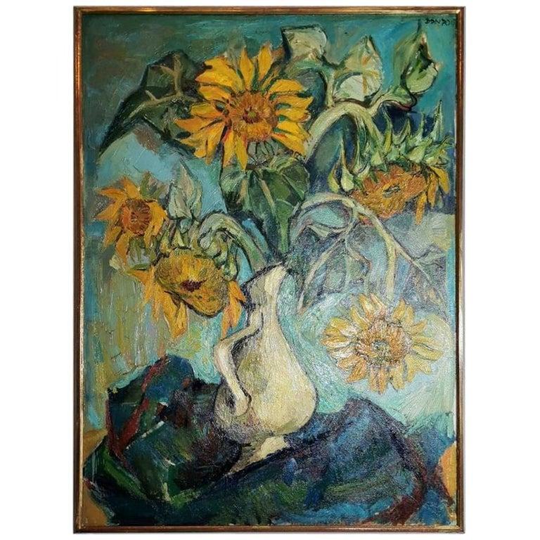 "20th Century Oil on Canvas "" Les Tournesols"" . France 1950 For Sale"