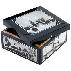 Picture Jasper Semi-precious Stone Decorative Gift Box with Lid / Desk Accessory