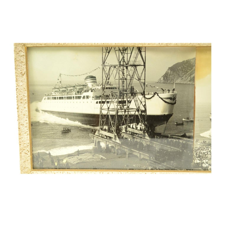 Rectangular frame with original pictures depicting three ships launching in Riva Trigoso shipyard: Reggio ferry of Ferrovie dello Stato (8th March 1960); Federico Parodi ship (31st August 1958); Cariddi motorboat launched on October 20, 1953. Coeval