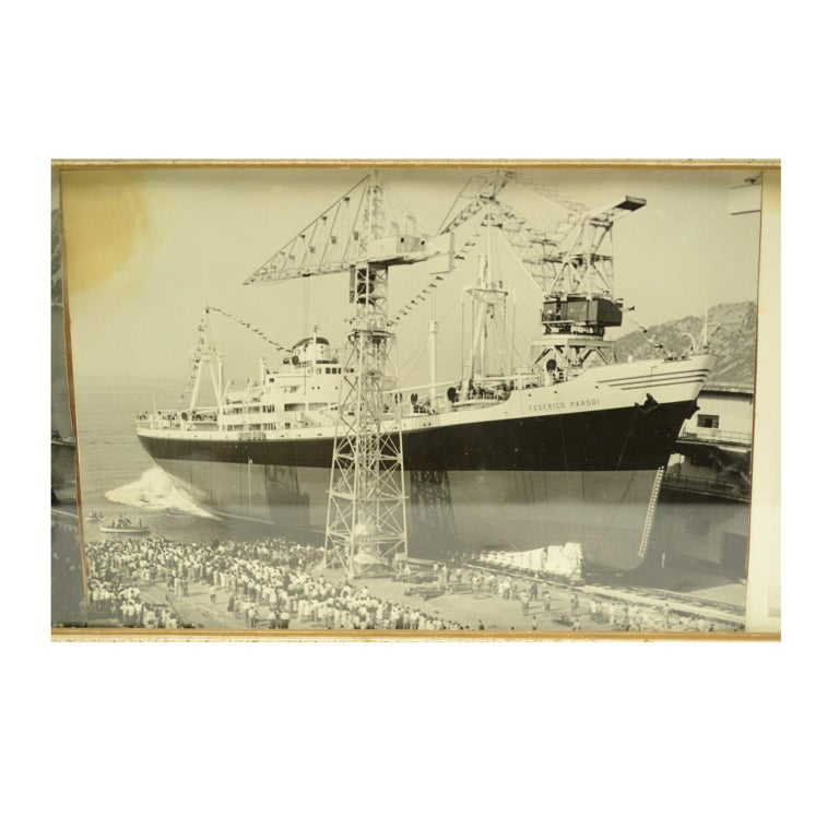 Italian Pictures Depicting Three Ships Launching in the Riva Trigoso Shipyards For Sale