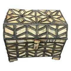 Pieced Bone and Silver Patterned Dowry Trunk, Morocco, Midcentury