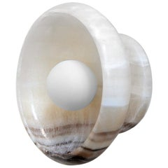 Sconce in Hand Carved Black and White Onyx, Piedra Lighting Collection