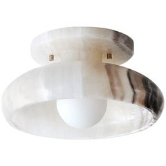 Piedra Collection, Hand Carved Black and White Onyx Semi-Flush Mount
