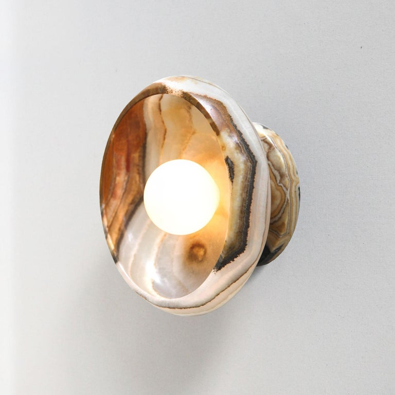 Mexican Piedra Lighting Collection, Sconce in Hand Carved Terra Onyx  For Sale