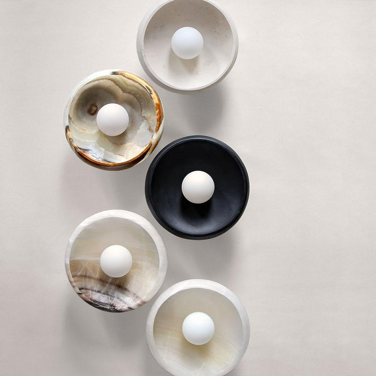 Piedra Lighting Collection, Sconce in Hand Carved Terra Onyx  In New Condition For Sale In New York, NY