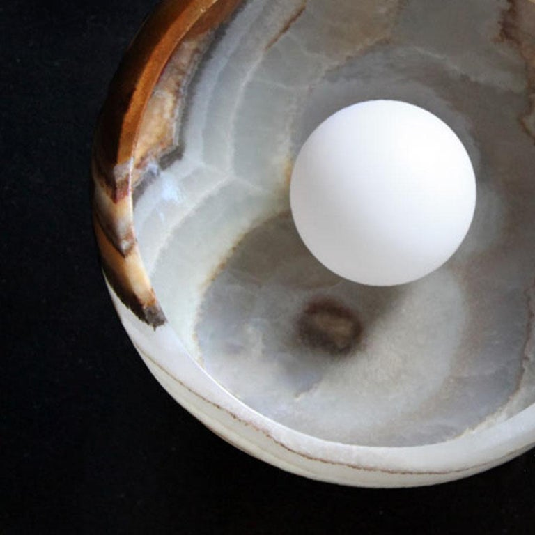 Piedra Lighting Collection, Sconce in Hand Carved Terra Onyx  For Sale 3