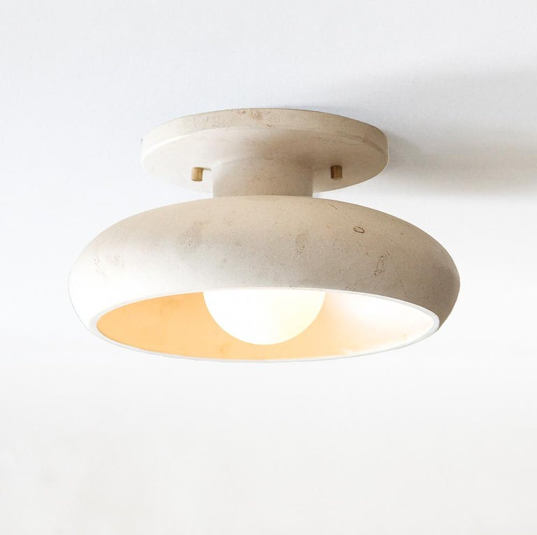 Mexican Semi-Flush Mount in Hand Carved Travertine Marble, Piedra Lighting Collection For Sale