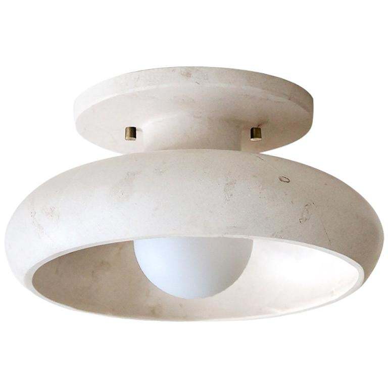 Semi-Flush Mount in Hand Carved Travertine Marble, Piedra Lighting Collection For Sale