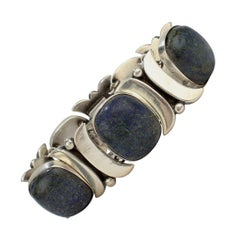 Piedra Y Plata Sterling Silver and Lapis Mexican Bracelet by Felipe Martinez