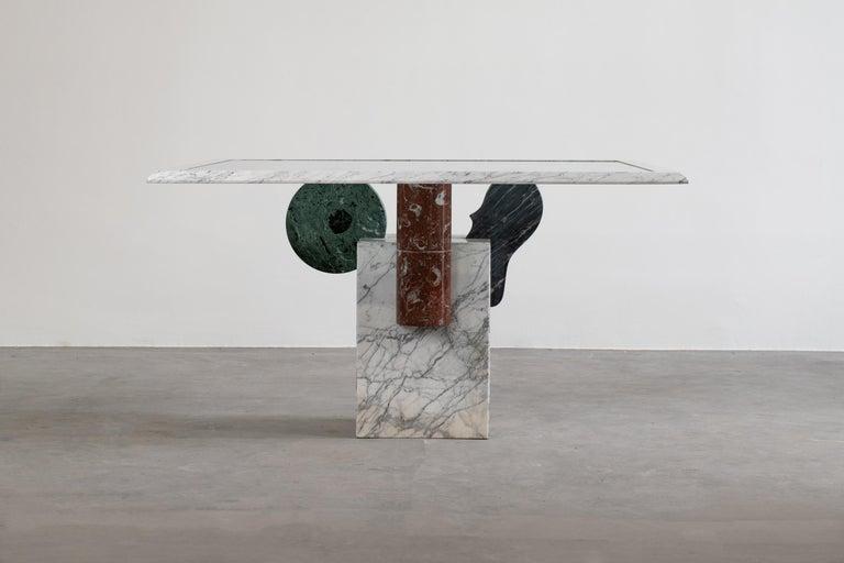 Italian Pier Alessandro Giusti and Egidio Di Rosa Brugiana Table in Marble and Sandstone For Sale
