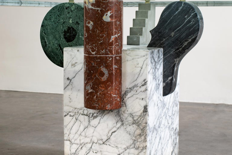 Pier Alessandro Giusti and Egidio Di Rosa Brugiana Table in Marble and Sandstone In Good Condition For Sale In Montecatini Terme, IT